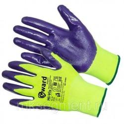 Перчатки нейлоновые с фиолетовым нитрилом покрытием