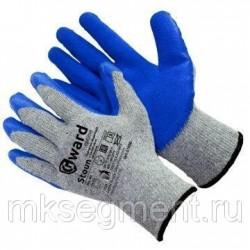 Перчатки хлопчатобумажные серые с синим текстурированным латексом