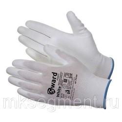 Перчатки нейлоновые белые с белым полиуретановым покрытием