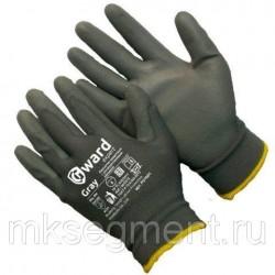 Перчатки нейлоновые серые с серым полиуретановым покрытием