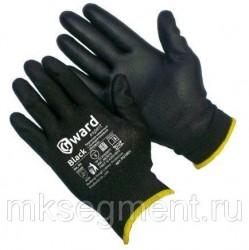 Перчатки нейлоновые черные с черным полиуретановым покрытием