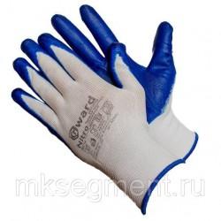 Перчатки из белого нейлона с синим нитриловым покрытием B-класса