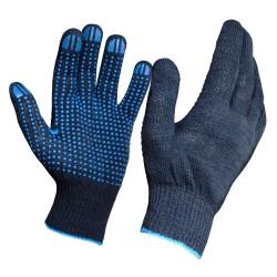 Перчатки трикотажные с ПВХ покрытием 4 нити 10 класс (черные)