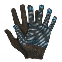 Перчатки трикотажные с ПВХ покрытием 5 нитей 10 класс (черные)